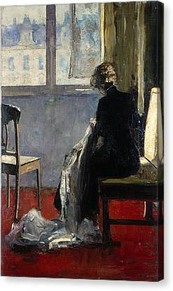 The Red Carpet, 1889 Canvas Print by Lesser Ury