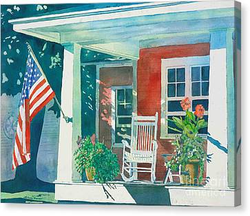 The Red Cottage Canvas Print by LeAnne Sowa