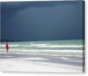 The Red Dress - Beach Art By Sharon Cummings Canvas Print by Sharon Cummings