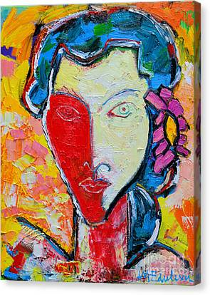 The Red Half Expressionist Girl Portrait  Canvas Print by Ana Maria Edulescu