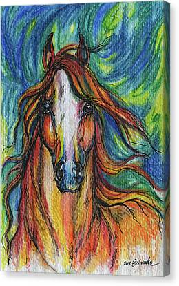 The Red Horse Canvas Print by Angel  Tarantella
