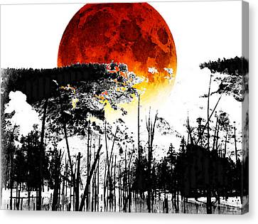 The Red Moon - Landscape Art By Sharon Cummings Canvas Print by Sharon Cummings