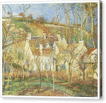 The Red Roofs Corner Of A Village Winter Canvas Print by Camille Pissarro