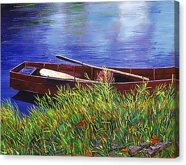 The Red Rowboat Canvas Print by David Lloyd Glover