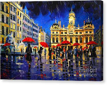 The Red Umbrellas Of Lyon Canvas Print by Mona Edulesco