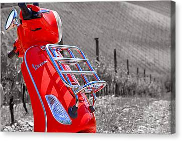 The Red Vespa Canvas Print by Adrian Alford