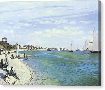 The Regatta At Sainte-adresse Canvas Print by Claude Monet