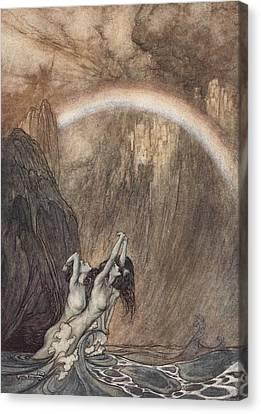 The Rhine S Fair Children Bewailing Their Lost Gold Weep Canvas Print by Arthur Rackham