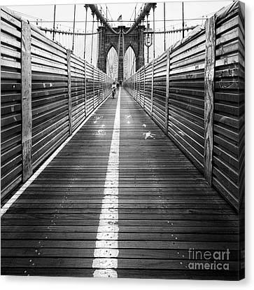 The Riders Brooklyn Bridge Canvas Print by John Farnan