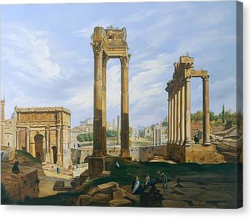 The Roman Forum Canvas Print by Jodocus-Sebastiaen van den Abeele
