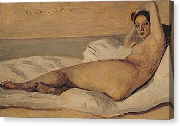 The Roman Odalisque Canvas Print by Jean Baptiste Camille Corot