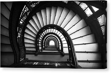 The Rookery Staircase In Black And White Canvas Print by Kelly Hazel