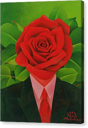 The Rose Man, 2004 Oil On Canvas Canvas Print by Myung-Bo Sim