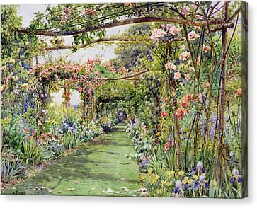 The Rose Pergola, Blackhurst House Canvas Print by Ernest Arthur Rowe
