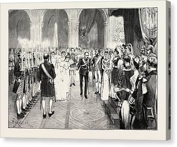 The Royal Marriage At Berlin, Germany Torch-dance Canvas Print by German School