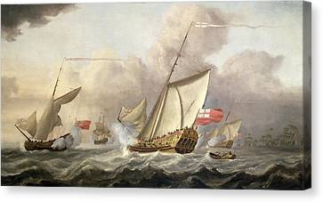 The Royal Yacht Mary Exchanging Salutes, 18th Century Canvas Print by Cornelis van de Velde