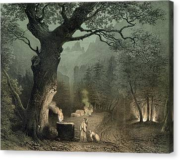 The Sacred Grove Of The Druids, From The Opera Norma By Vincenzo Bellini 1802-35 Engraving Canvas Print by French School