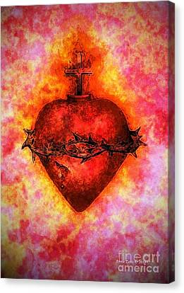 The Sacred Heart Of Jesus Christ Canvas Print by Annie Zeno