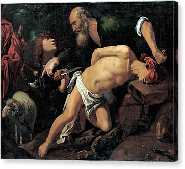 The Sacrifice Of Isaac Canvas Print by Pedro Orrente