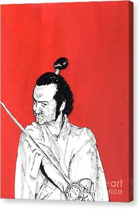 The Samurai On Red Canvas Print by Jason Tricktop Matthews