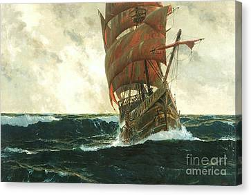 The Santa Maria At Sea Canvas Print by Pg Reproductions