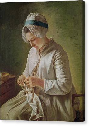 The Seamstress Or Young Woman Working Canvas Print by Francoise Duparc
