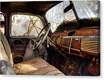 The Seat Of An Old Truck Canvas Print by Greg Mimbs