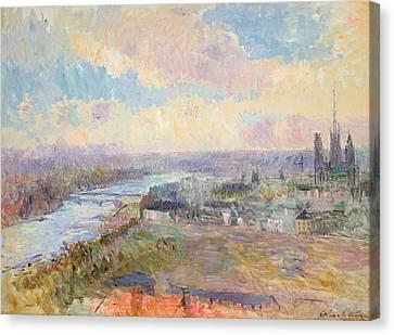 The Seine At Rouen Canvas Print by Albert Charles Lebourg