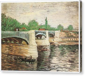 The Seine With The Pont De La Grand Jatte Canvas Print by Vincent Van Gogh