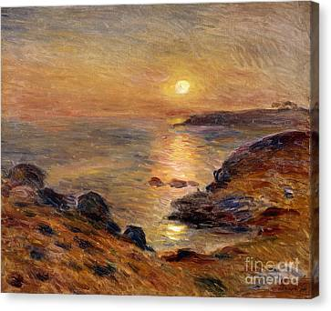 The Setting Of The Sun At Douarnenez61 Canvas Print by Pierre Auguste Renoir