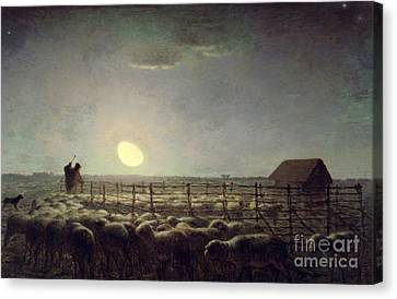 The Sheepfold   Moonlight Canvas Print by Jean Francois Millet