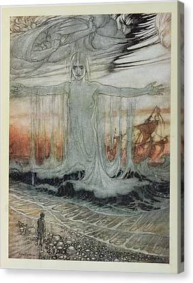 The Shipwrecked Man And The Sea, Illustration From Aesops Fables, Published By Heinemann, 1912 Canvas Print by Arthur Rackham