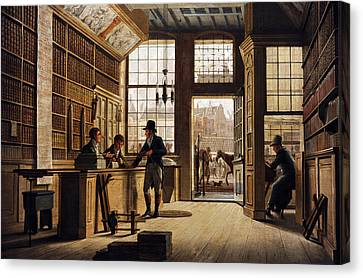 The Shop Of The Bookdealer Pieter Meijer Warnars On The Vijgendam In Amsterdam, 1820, By Johannes Canvas Print by Bridgeman Images