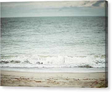 The Shore Beach Landscape Photography In Soft Pastel Blues Canvas Print by Lisa Russo