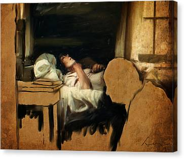 The Sickbed Canvas Print by H James Hoff