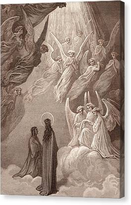 The Singing Of The Blessed In The Sixth Heaven Canvas Print by Gustave Dore