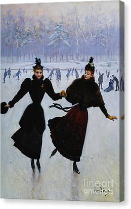 The Skaters Canvas Print by Jean Beraud