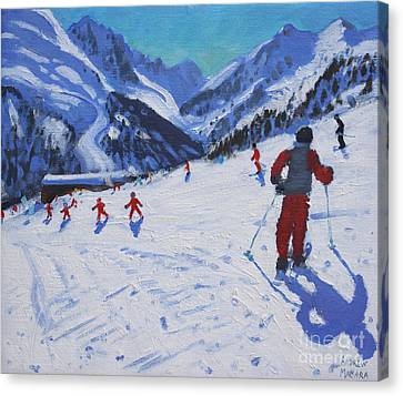 The Ski Instructor Canvas Print by Andrew Macara
