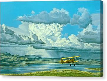 The Sky-stearman Biplane Canvas Print by Paul Krapf