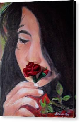 The Smell Of A Rose.. Canvas Print by Brenda Almeida-Schwaar