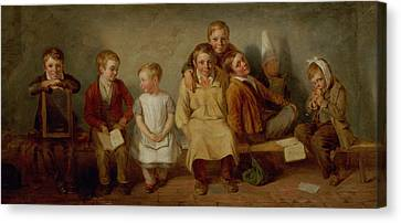 The Smile, 1842 Oil On Panel Pair Of 6132 Canvas Print by Thomas Webster