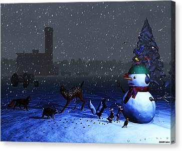 The Snowman's Visitors Canvas Print by Ken Morris