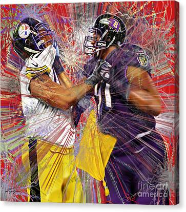 The Spectacle - Baltimore At Pittsburgh  Canvas Print by Reggie Duffie