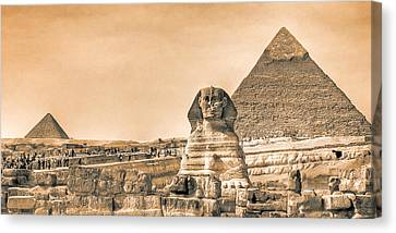 The Sphinx And Pyramids - Vintage Egypt Canvas Print by Mark E Tisdale