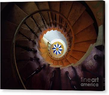The Spiral Staircase Of Villa Vizcaya Canvas Print by Mike Nellums