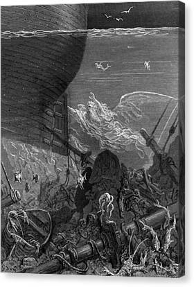 The Spirit That Had Followed The Ship From The Antartic Canvas Print by Gustave Dore