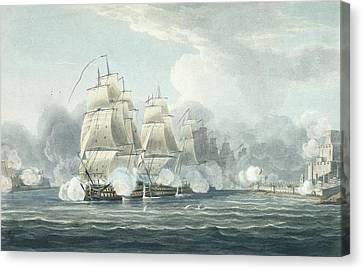 The Squadron Under Command Of Sir F.t Canvas Print by Thomas Whitcombe