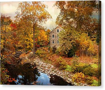 The Stone Mill In Autumn Canvas Print by Jessica Jenney