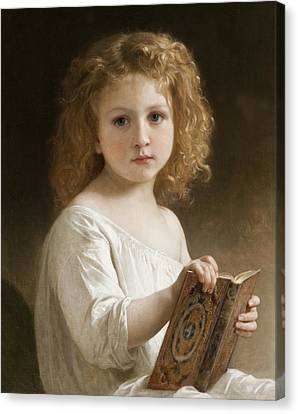 The Story Book Canvas Print by William Adolphe Bouguereau