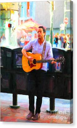 The Street Performer On Market Street - 5d20725 Canvas Print by Wingsdomain Art and Photography